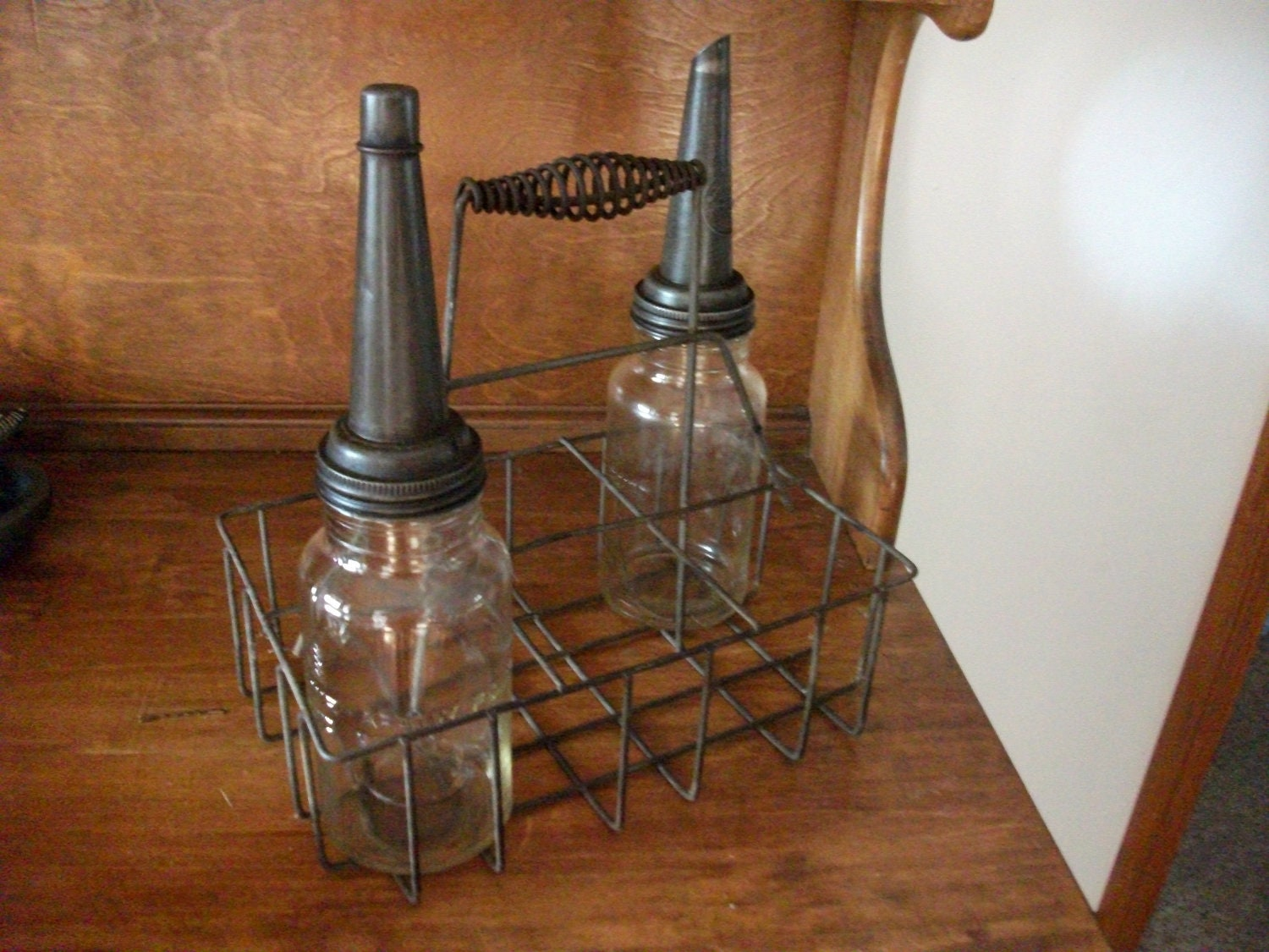 Antique Motor Oil Bottles And Crate With The Master Spout