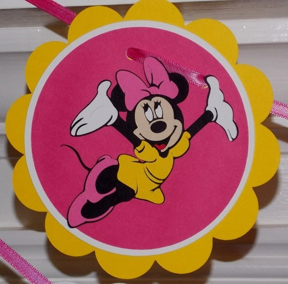 CLEARANCE Minnie Mouse Happy Birthday Banner ... yellow pink white ... polka dots stripes ... READY to SHIP ... girl birthday