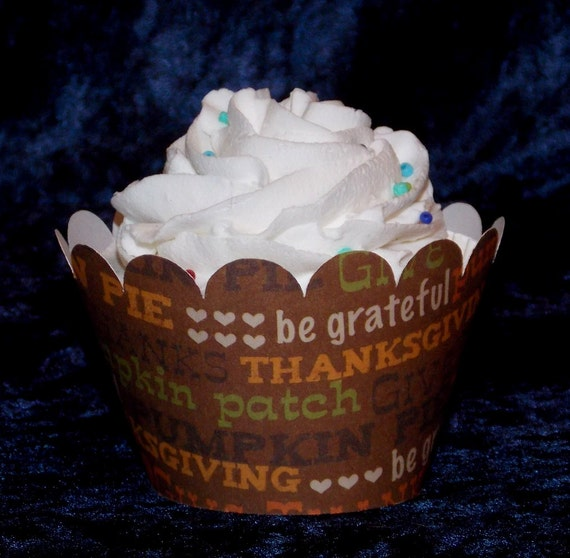Thanksgiving Cupcake wrappers ... 12 count ... orange brown green tan ...  Safari ... Thanks giving  ... READY TO SHIP ... Limited Supplies