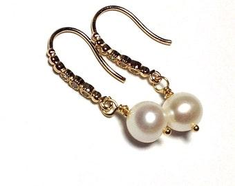Wedding Pearl Earrings, Wedding Earrings pearl, Pearl earrings wedding, Wedding ivory pearl, AAA pearl wedding, bridesmaid pearl earrings
