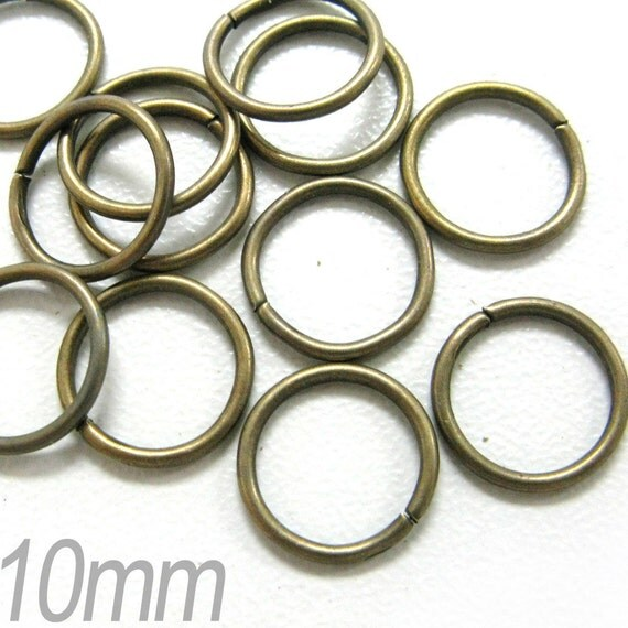 150PCS 10mm Bronze plated metal round shape jump rings findings (1-4-23)