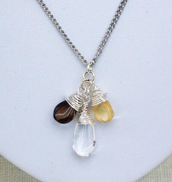 Smokey Quartz, Clear Quartz and Citrine Simple  Chain Necklace, Handmade Jewelry, Gemstone Necklace, UK Seller