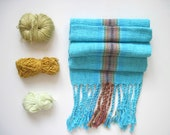 Turquoise Handwoven Scarf with Cotton and Eco-Conscious Fibers