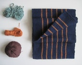Mens Handwoven Navy Scarf Fall Accessory Pinstripe and Soft