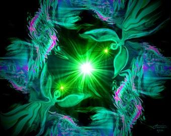 "Angel Art, Green Wall Decor, Heart Chakra Energy Art ""Angel Heart"""