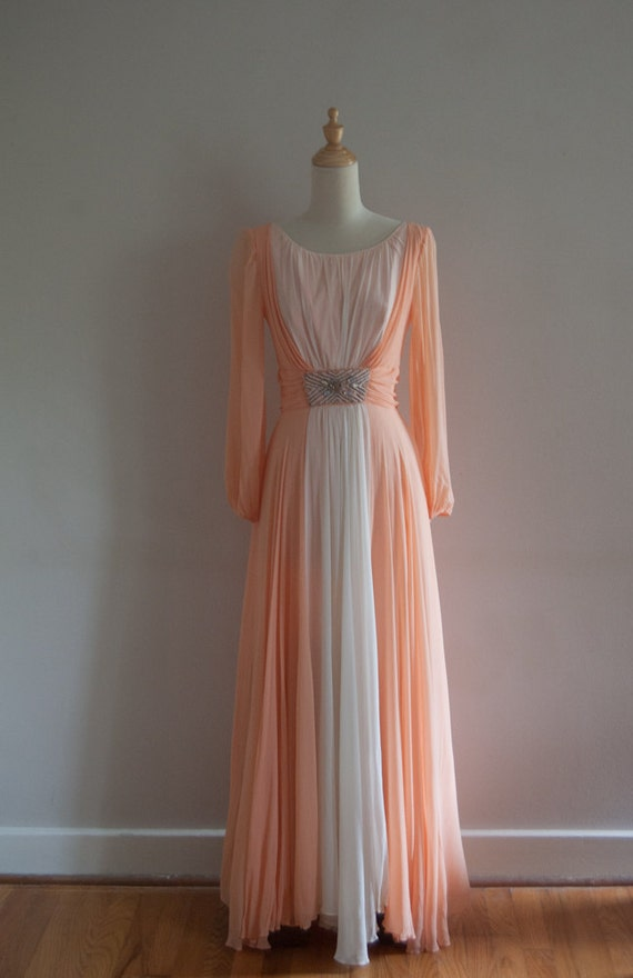 1960s evening gown with beading and gems / peaches and cream dress