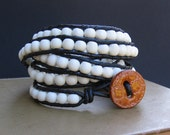 Leather Wrap Bracelet (5x) - White Wood & Black Leather, Marigold Croc Button Closure - by We Are 1
