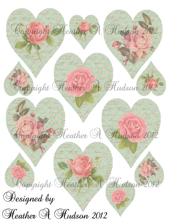 Shabby Vintage Pink Rose Blue hearts  Digital Collage sheet  HAH