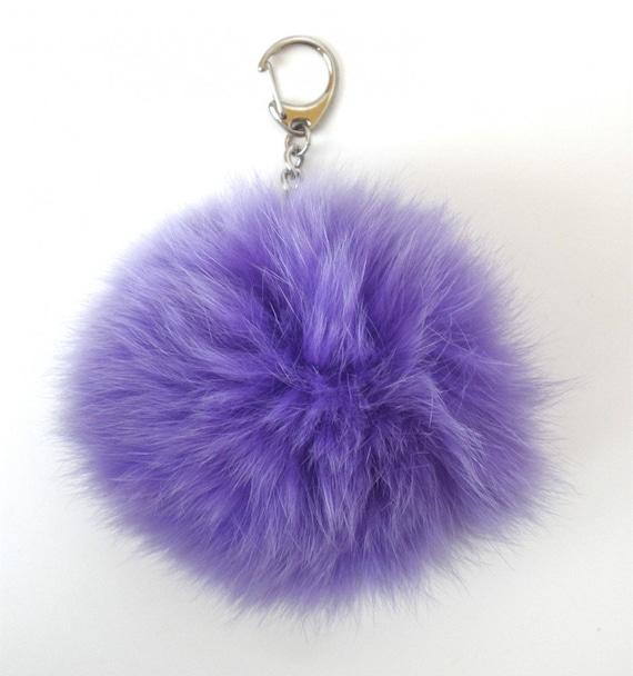 Purple Bunny Puff Bag Charm