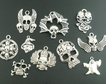 SALE - 10 pcs. Silver Tone Halloween Gothic Charms