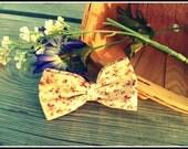 Classic Lolita Beige Floral Fabric Hair Bow Clip