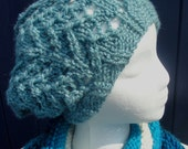 "Robins Egg Blue Slouchy Hat in ""Cindy"" Style. Open Stitch, Loose Fitting. Lightweight Spring Style. Free Shipping."