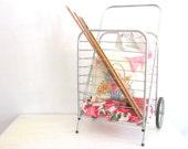 Vintage Metal Rolling Cart Shopping Cart Aluminum Basket Cart Industrial Home