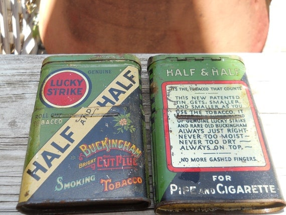 Two Lucky Strike Half and Half Telescoping Antique Tobacco Tins