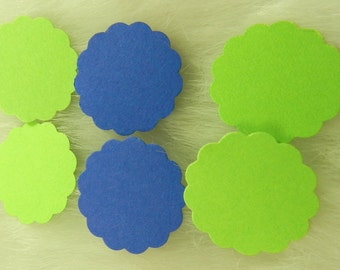 50 Royal Blue and Lime Green Scalloped Circles, Easter, Cupcake Toppers, Embellishments, 1 inch