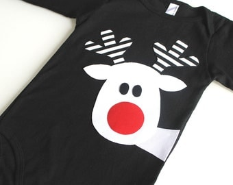White Reindeer One Piece T Shirt - Black Stripe Christmas