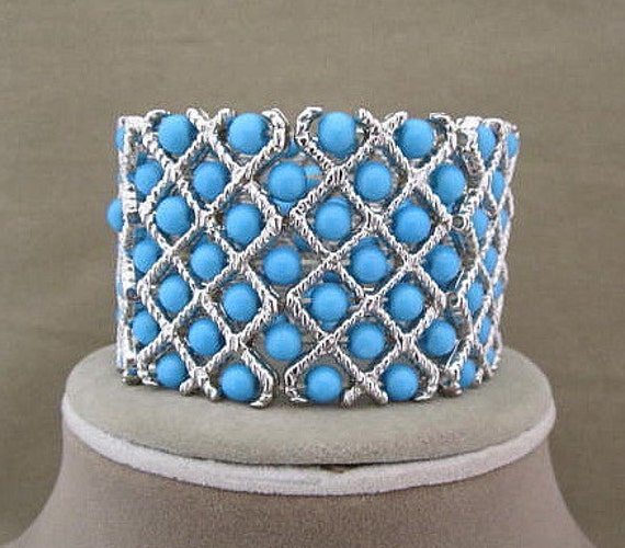 Wide Turquoise Blue Bead Stretch Cuff Bracelet
