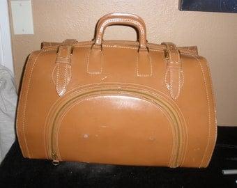 Vintage Aniline Cowhide Over Night Bag Briefcase Suitcase Bar