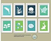 Sea Print Set. Ocean Gallery. Set of 8, 5X7, Nursery decor, Boy or Girl room decor, Birthday Gift, Sea world Artwork