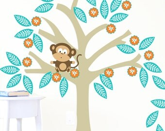 Tree Decal for Nursery or Playroom- Little Monkey- 48X45 Inches, Nurery Artwork, Wall Stickers, Baby Gift