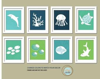 Sea Print Set. Ocean Gallery. Set of 4, 5X7, YOU CHOOSE, Nursery decor, Boy or Girl room decor, Birthday Gift, Sea world Artwork