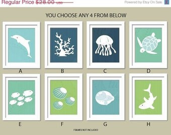 Sea Theme Nursery. Ocean Gallery. Set of 4, 8X10, YOU CHOOSE, Boy or Girl room decor, Birthday Gift, Sea world Artwork