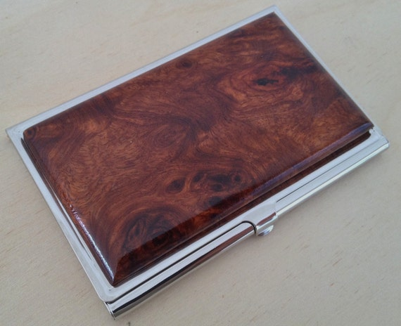 Handcrafted AMBOYNA Burl Wood Business Card Case ID/Card Holder - FREE Engraving