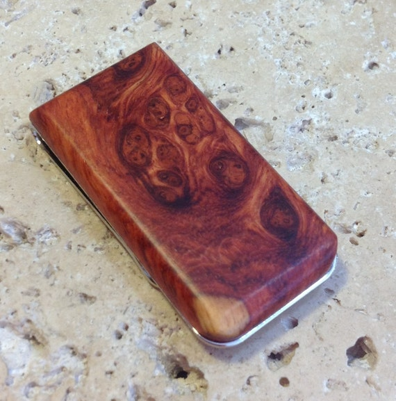 Hand Crafted AMBOYNA BURL Money Clip - FREE Engraving and Gift Box
