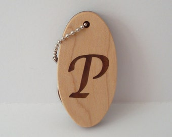 Personalized Initial Key Chain Letter P Wood Keychain Hand Cut Scroll Saw
