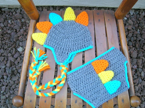 Crochet Dinosaur Hat And Diaper Cover Pattern : Dino Earflap Hat and Diaper Cover SET by CraftyCrochet4Kids