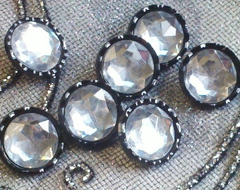 1 Dozen  Vintage Black Acrylic Clear Rhinestones  Buttons with Black Setting and Scalloped Edge, 22 mm.