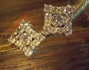 Vintage Rhinestone Square Clip Earrings