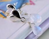 Moonstone Earrings Child Children Girl Sterling Silver Jewelry Heart Ear Posts Genuine June Birthstone