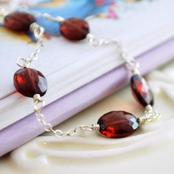 Genuine Garnet Necklace Little Girl Child Children Red Gemstone January Birthstone Wire Wrapped Sterling Silver Jewelry