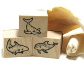 Shark Dolphin Whale Stamps (Set of 4)