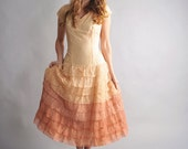 1940s party dress // 40s lace formal dress // Peach Nectar