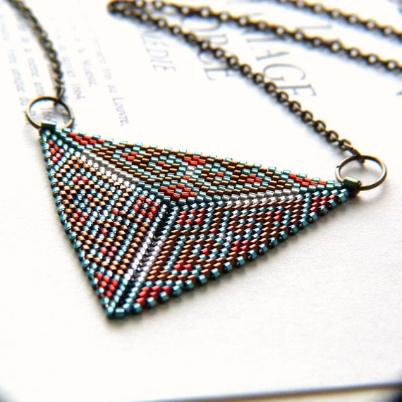 Peyote Beaded Triangle Pendant Necklace - Beadwork in Light Green, Scarlet Red, Silver White and Copper Brown Tones