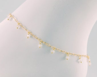 Rainbow Moonstone Anklet, Genuine Gemstone, Dangles, Boho, Indian Inspired, Ankle Bracelet, Gold Filled Jewelry, Free Shipping
