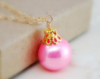 Fun Holiday Ornament Necklace, Pink Glass Pearl, Wire Wrapped, Sterling Silver or Gold, Bright Ball, Christmas Jewelry, Free Shipping
