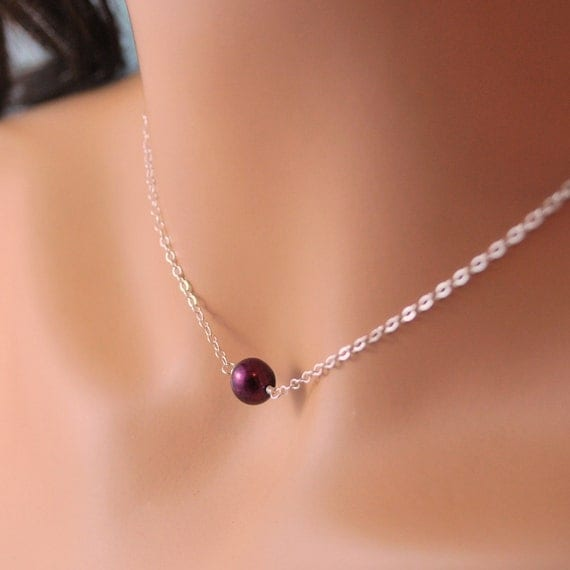 Choker Necklace Real Freshwater Pearl Dark Burgundy Mulberry Autumn Fall Sterling Silver Jewelry Complimentary Shipping