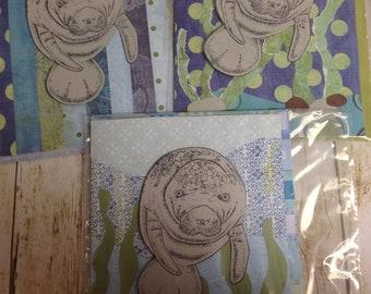 3 Handmade Manatee Cards Blank