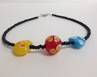 Primary Colors Lampwork Bead  Anklet