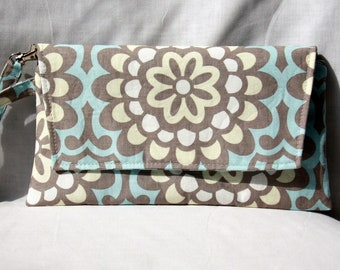 Envelope Clutch with Zipper Closure - Wristlet Clutch - Amy Butler Wallflower Blue and Gray