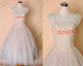On hold dont purchase 1950's Vintage Emma Domb White Party Dress with Pink Baby Roses