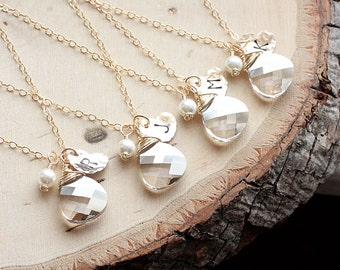 Bridesmaid Gift Set - FIVE, 5 Gold Initial Necklaces, Swarovski Crystal & Hand Stamped Charm, Personalized Jewelry, Gold Filled