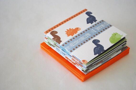 Blue and Orange Dinosaur Mini Cards set of 8