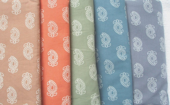 Fat Quarter Bundle of Hand block printed fabric. 100% organic cotton. Paisleys in true Chalky Pastel colors