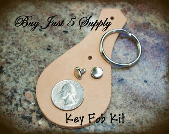 Key Fob Kit - Leather - 2 Kits Ready to Dye, Stamp, Emboss, Rivet, Embellish with Filigree and Metal Stamping... 2 For You