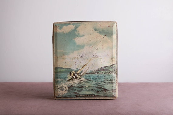 Nautical Storage Tin Box / Vintage English Sailing Firth of Clyde