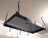 Hand Forged Iron Industrial Steampunk Pot Rack by VinTin (Item # K-916)